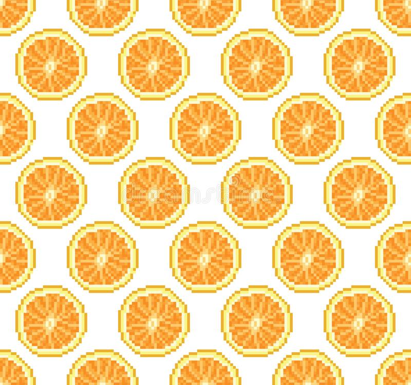 Oranges seamless pattern. Lemon background vector illustration. Pixel art vector illustration