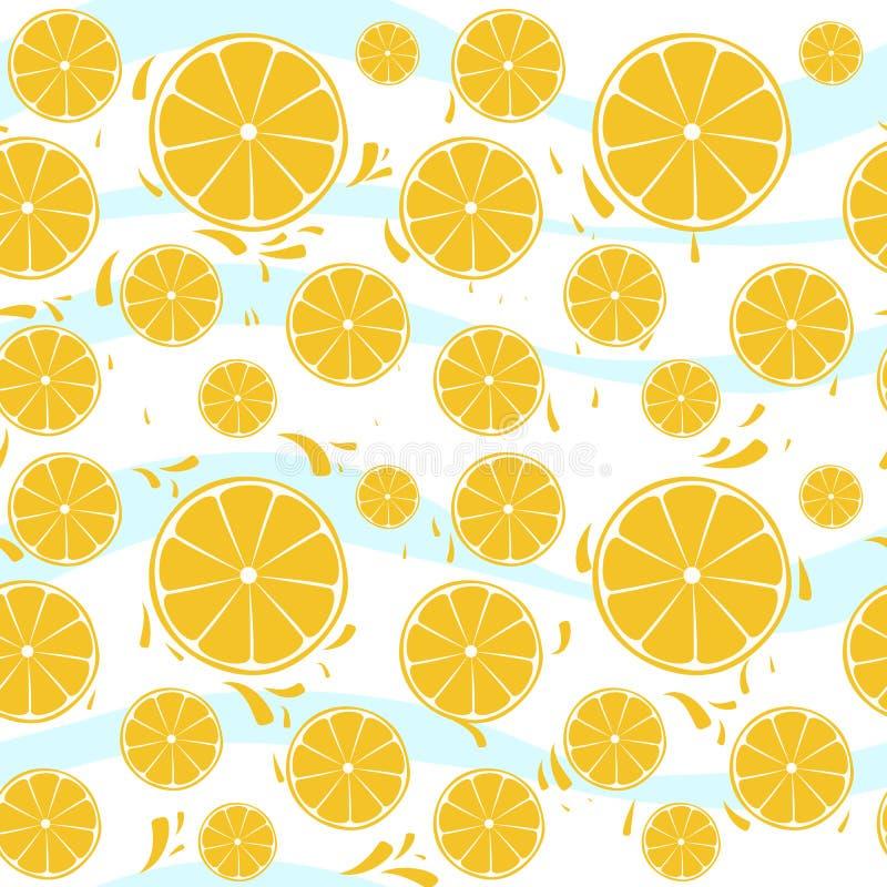 Oranges slices seamless pattern splash on blue whi. Te background stock illustration