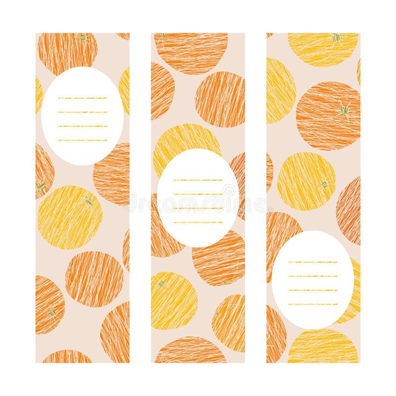 Oranges. Vertical banner set. Scratched fruits. Series of harvest cards. Healthy lifestyle postcards. Simple design for invitation, leaflet or poster royalty free illustration