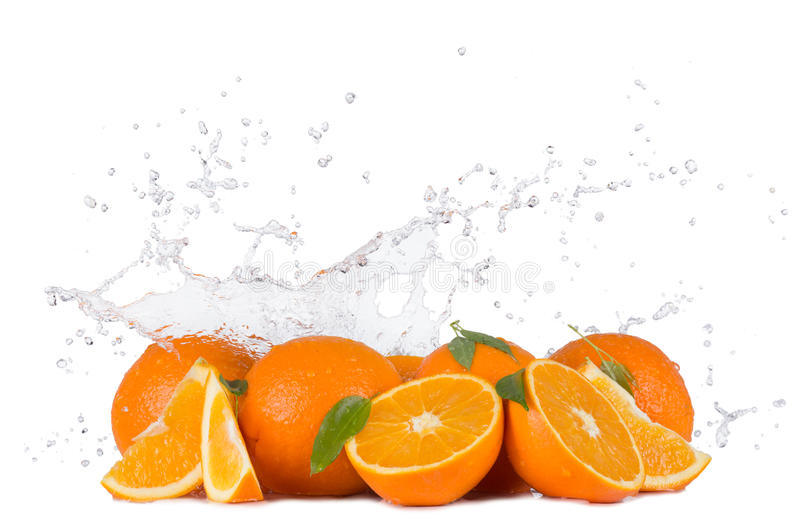Oranges with water splashes on white background royalty free stock photography