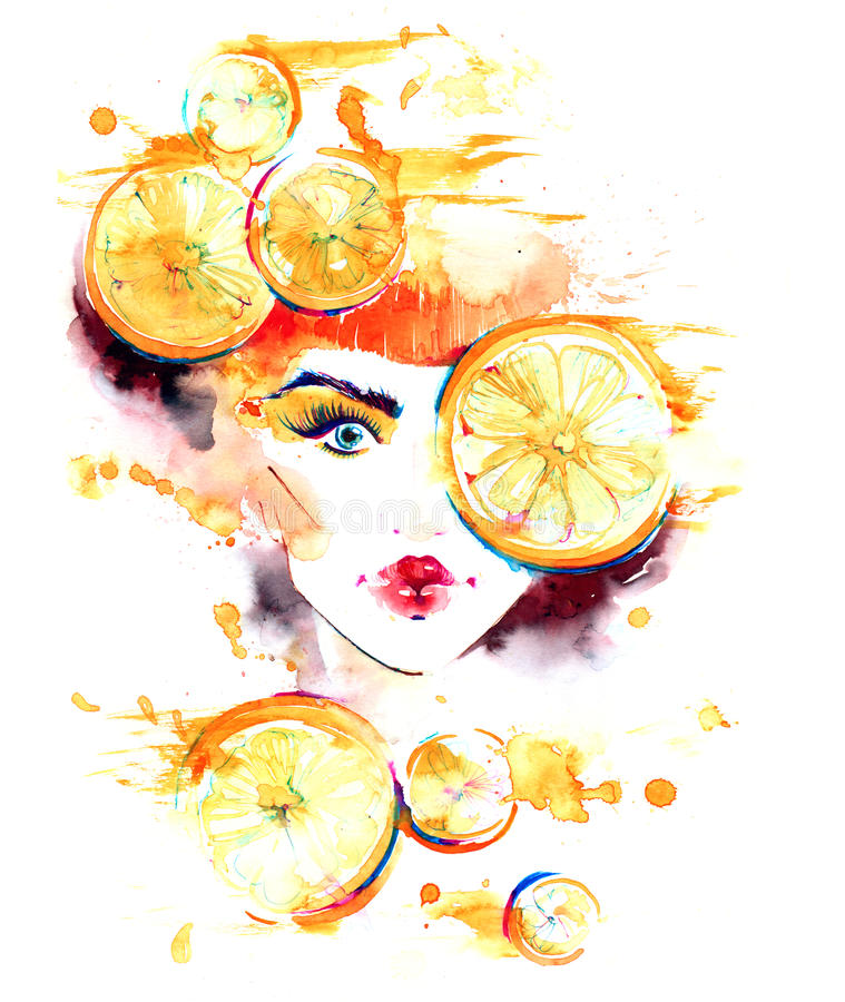 Oranges. Woman decorated with slices of citrus clockwork stock illustration