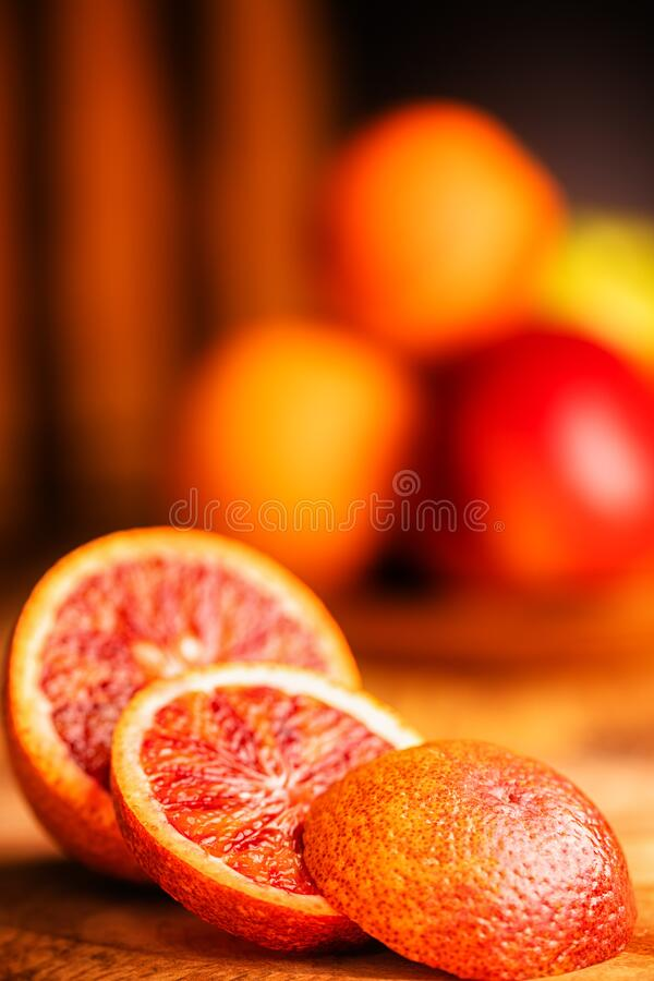 Oranges on the wooden table royalty free stock photography