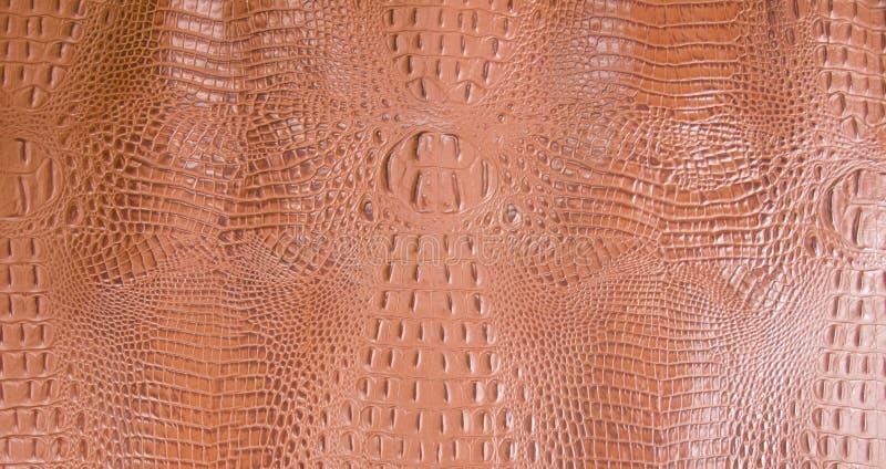 Orangish In reliëf gemaakte Gator-Leertextuur stock fotografie
