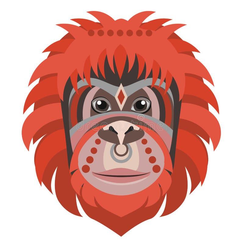 Orangoetan hoofdembleem Illustratie van het aap de Vector decoratieve embleem stock illustratie