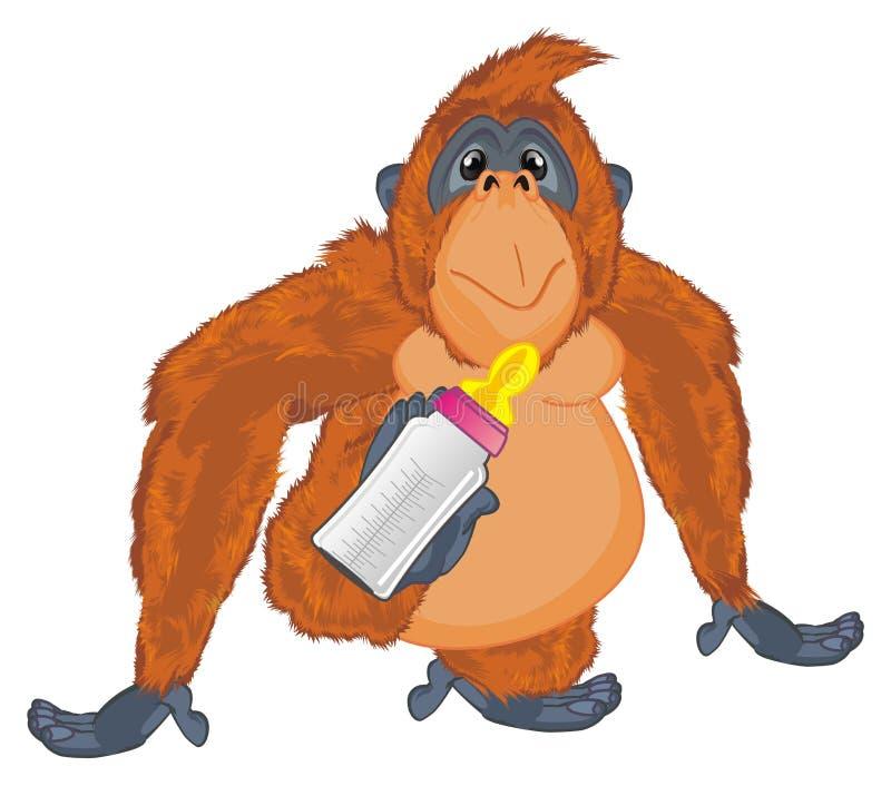 Orangoetan met melk royalty-vrije illustratie