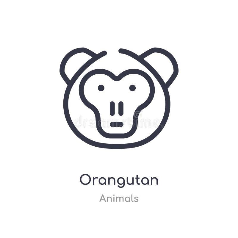 orangutan εικονίδιο περιλήψεων απομονωμένη διανυσματική απεικόνιση γραμμών από τη συλλογή ζώων editable λεπτό orangutan κτυπήματο ελεύθερη απεικόνιση δικαιώματος