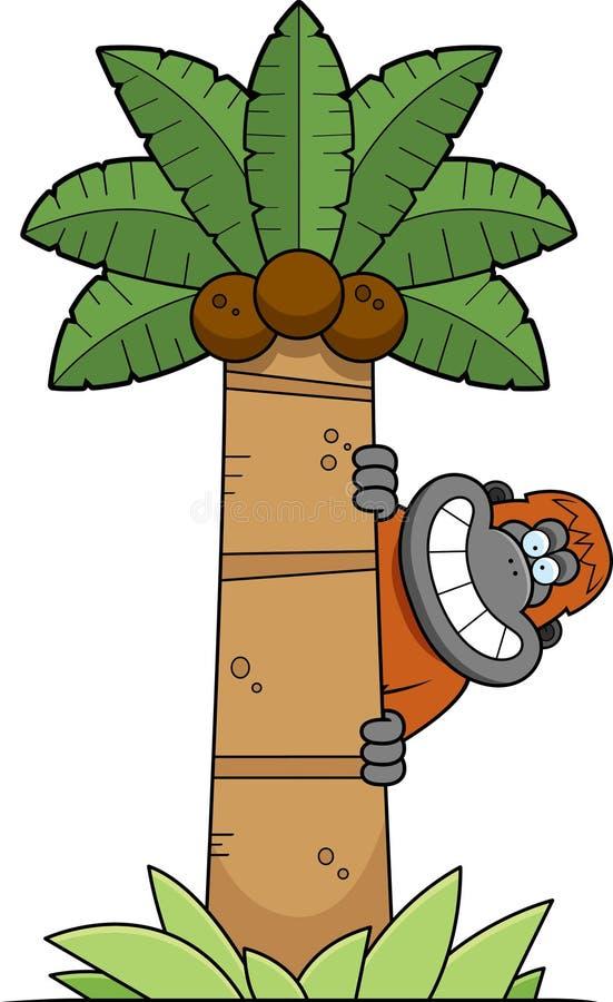 Orangutan κινούμενων σχεδίων δέντρο απεικόνιση αποθεμάτων