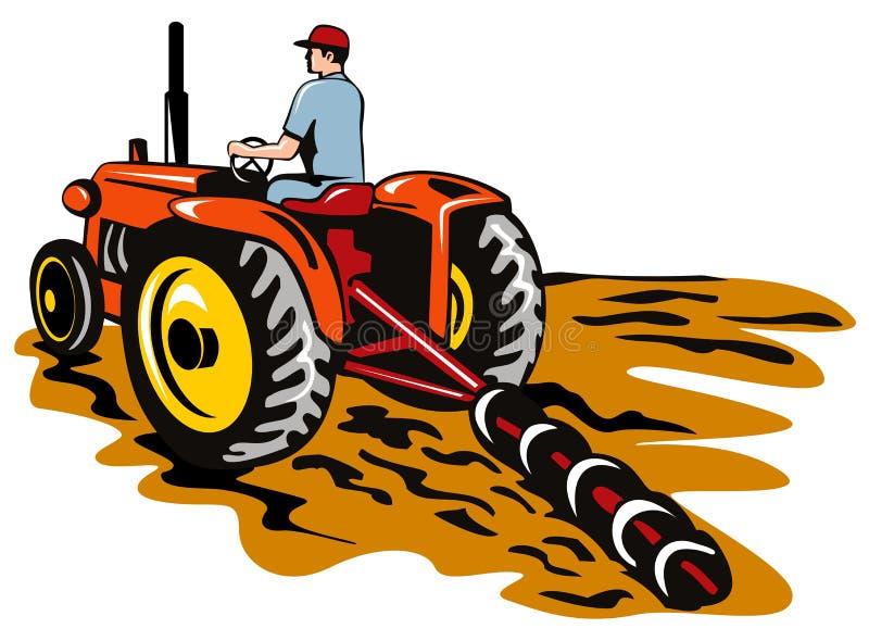 oranie ciągnik rolniczy ilustracja wektor