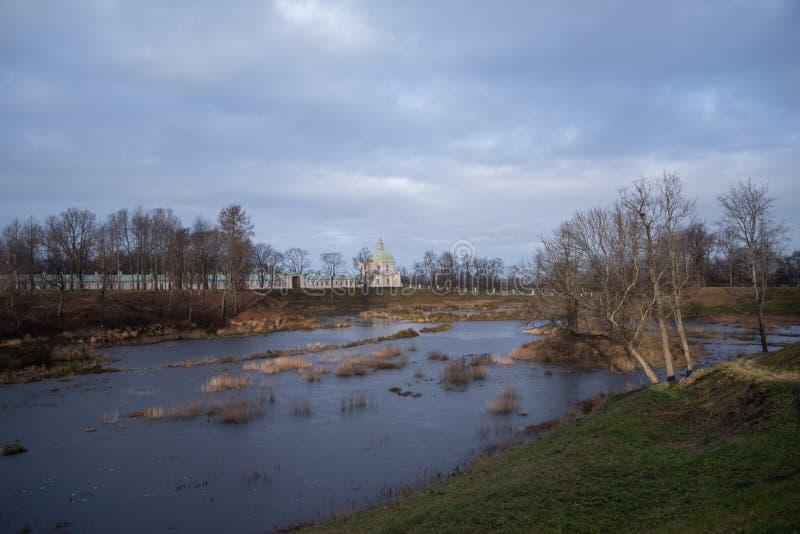 Oranienbaum park view with Grand Menshikov Palace and pond. Oranienbaum Lomonosov town. Suburban of Saint Petersburg royalty free stock photo
