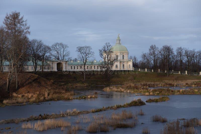 Oranienbaum park view with Grand Menshikov Palace and pond. Oranienbaum Lomonosov town. Suburban of Saint Petersburg royalty free stock images