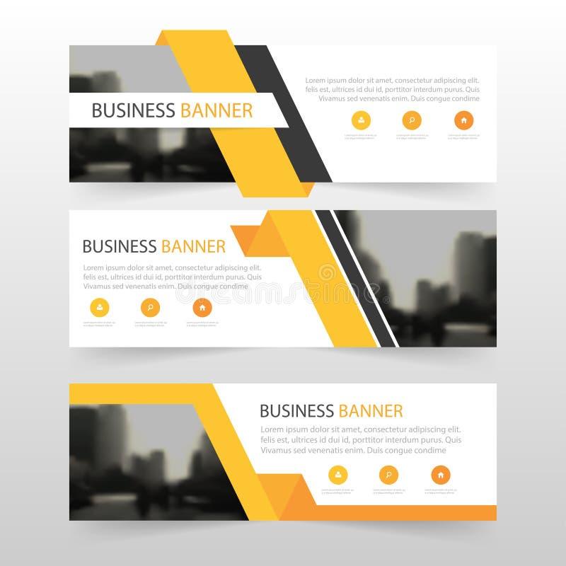 Oranje abstract driehoeks collectief bedrijfsbannermalplaatje, horizontaal het malplaatje vlak ontwerp reclame van de bedrijfsban stock illustratie