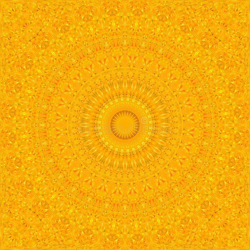 Oranje abstract naadloos gebogen van de caleidoscoopmandala van het driehoeksmozaïek het patroonbehang stock illustratie