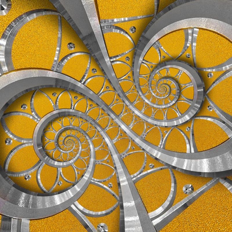 Oranje abstracte ronde spiraalvormige achtergrondpatroonfractal Het zilveren element van het metaal spiraalvormige oranje decorat royalty-vrije illustratie