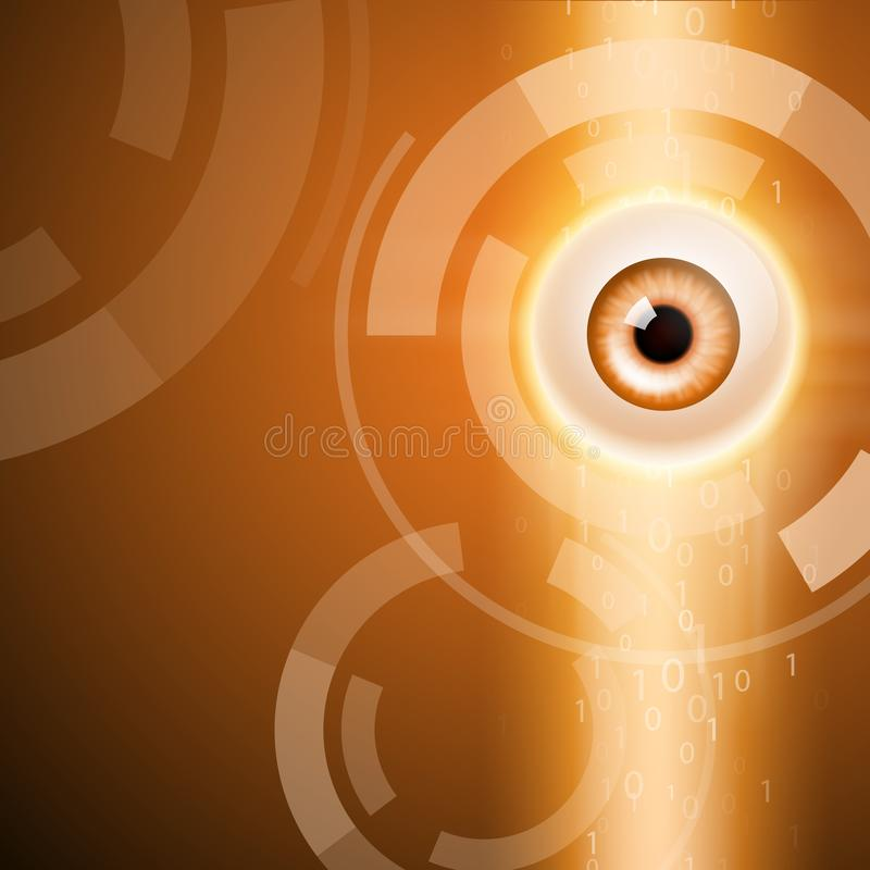 Oranje achtergrond met oog royalty-vrije illustratie