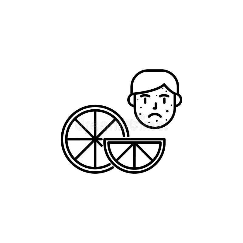 Oranje, allergisch gezichtspictogram Element van problemen met allergieënpictogram Dun lijnpictogram voor websiteontwerp en ontwi royalty-vrije illustratie