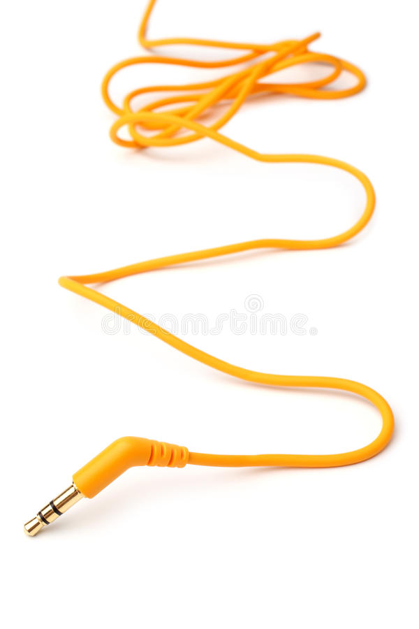 Oranje audiokabel 3,5mm hefboomstop stock foto