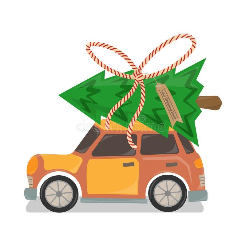 Oranje Auto met Kerstboom op Bovenkant stock illustratie
