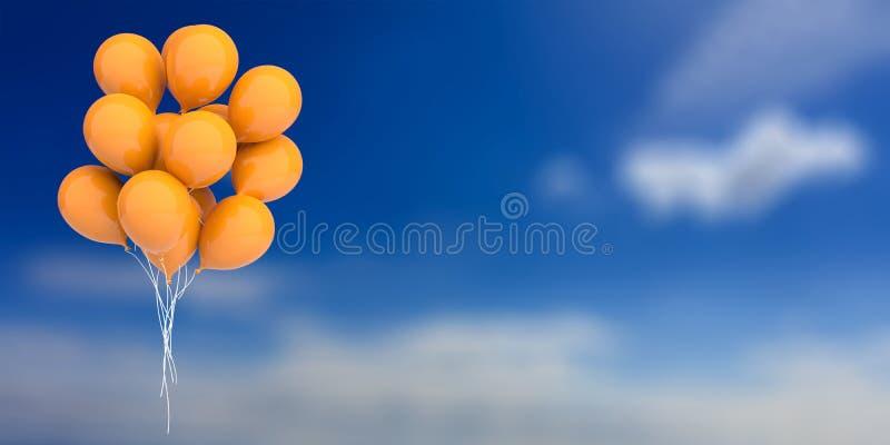Oranje ballons op blauwe hemelachtergrond 3D Illustratie stock illustratie