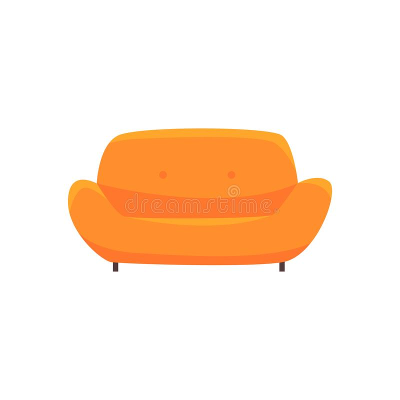 Oranje bank of laag, woonkamer of bureaubinnenland, meubilair voor de vectorillustratie van het ontspanningsbeeldverhaal royalty-vrije illustratie
