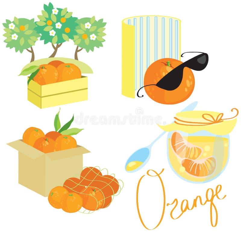 Oranje beeldreeks stock illustratie