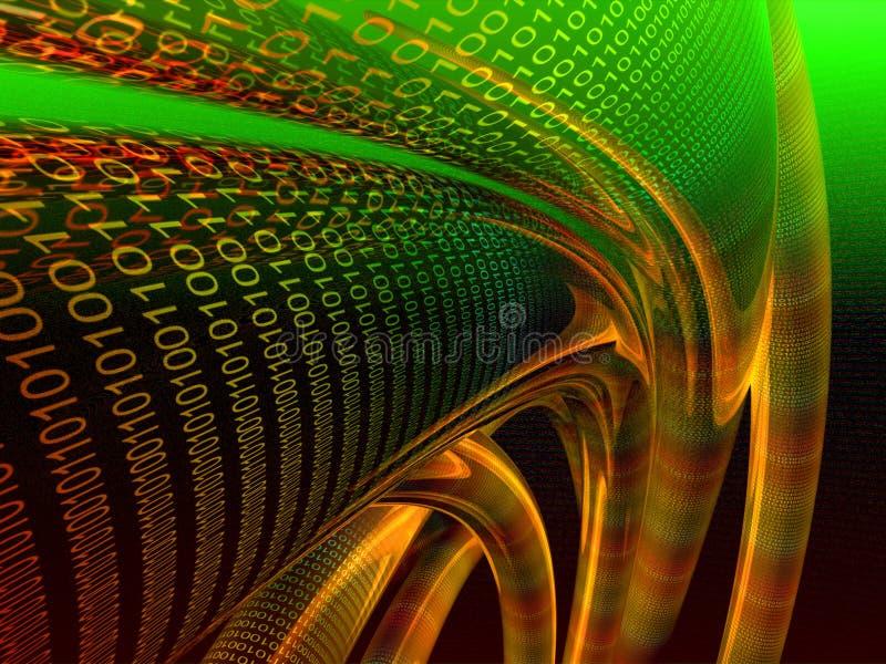 Oranje binaire gegevenskabel royalty-vrije illustratie