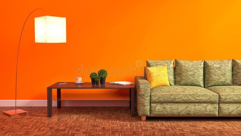Oranje binnenland met groene bank, houten lijst en lamp 3d illus stock illustratie
