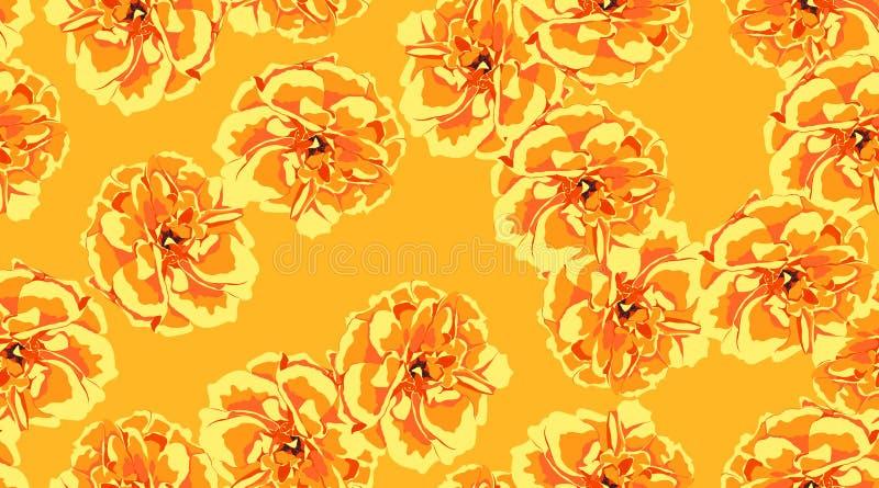 Oranje Bloemen Naadloos Patroon vector illustratie