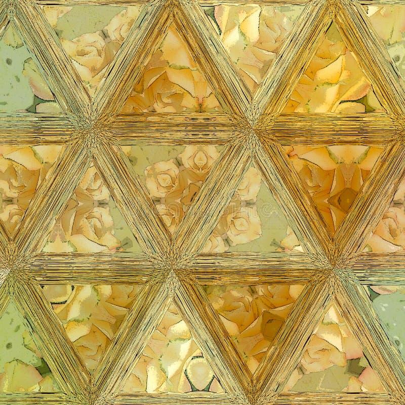 Oranje bloemendriehoeken in ononderbroken patroon stock afbeelding