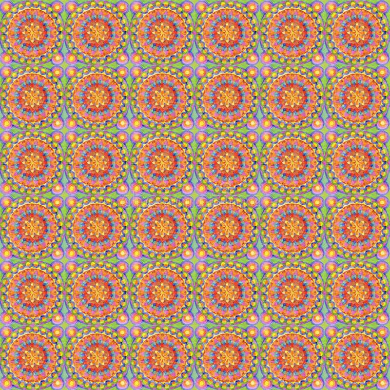 Oranje bloemenornament Helder veelkleurig naadloos patroon royalty-vrije illustratie