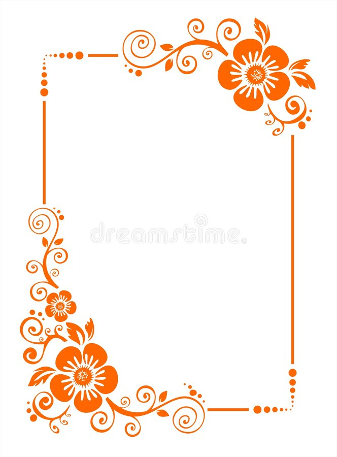 Oranje bloemgrens stock illustratie