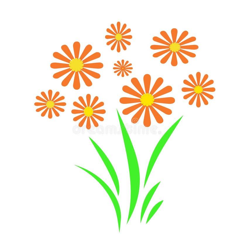 Oranje bloemtuin vector illustratie