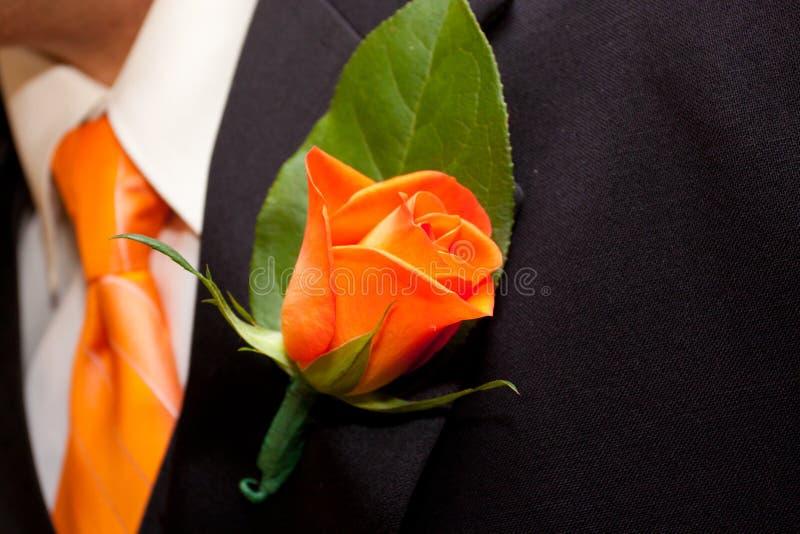 Oranje Boutineer royalty-vrije stock fotografie