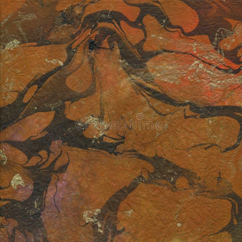 Oranje bruin en het goud marmerde document textuur stock afbeelding