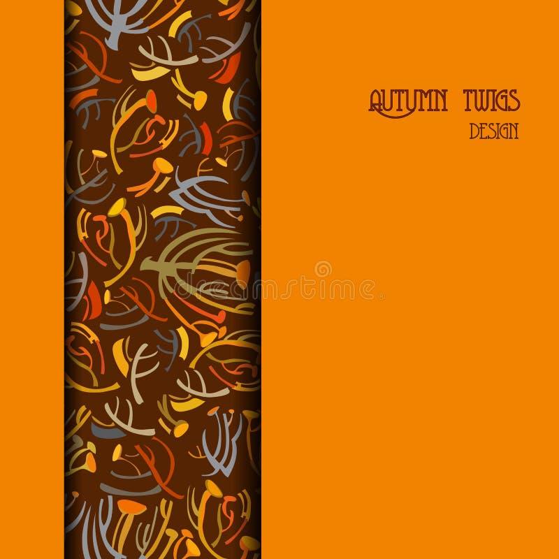 Oranje bruin verticaal grensontwerp Verticale strook van takjespatroon vector illustratie