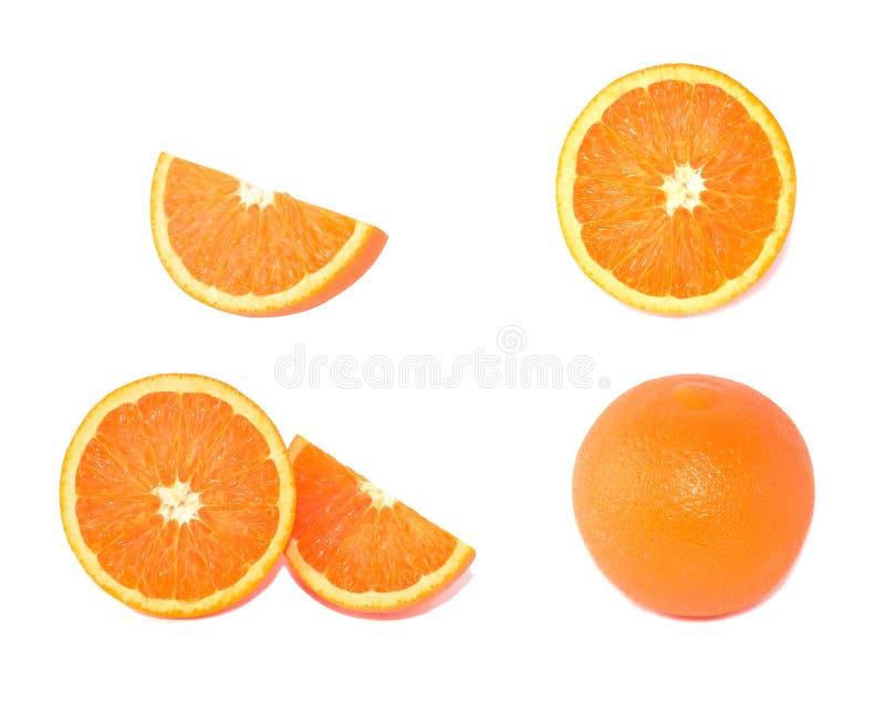 Oranje cirkelstukken witte achtergrond royalty-vrije stock fotografie