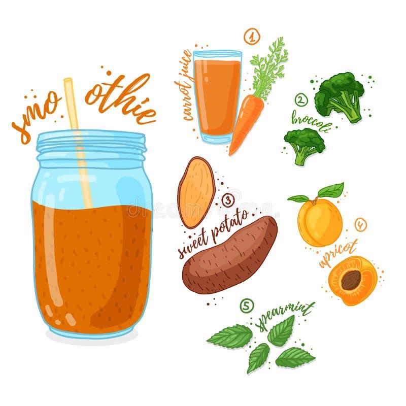 Oranje cocktail voor het gezonde leven Smoothies met bataat, abrikoos, broccoli en wortelsap Receptenvegetariër royalty-vrije illustratie