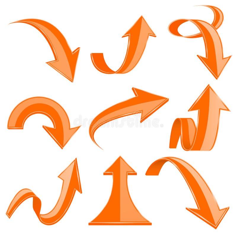 Oranje 3d pijlen Gebogen en gekrulde omhoog pictogrammen royalty-vrije illustratie