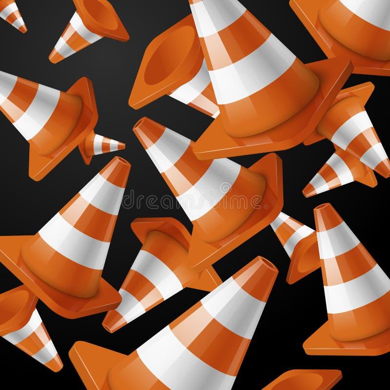 Oranje dalende wegkegels met strepen op zwarte stock illustratie
