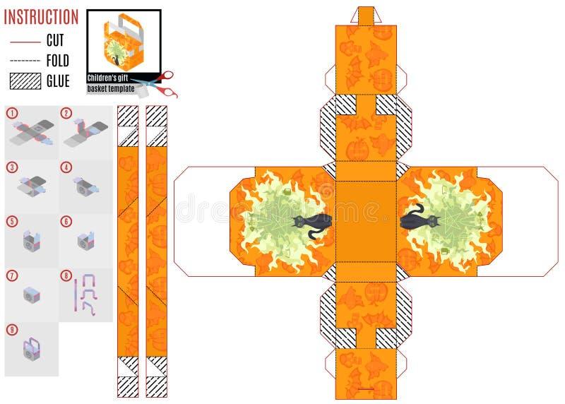 Oranje de babydoos van het textuurpatroon met mystieke kat royalty-vrije illustratie