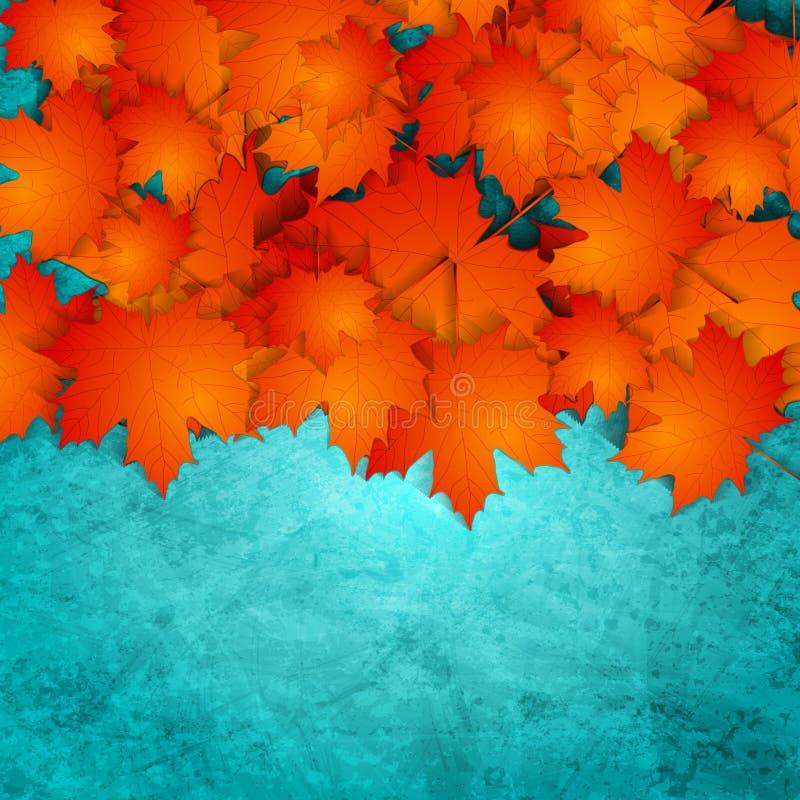 Oranje de herfstbladeren op turkooise grungemuur vector illustratie