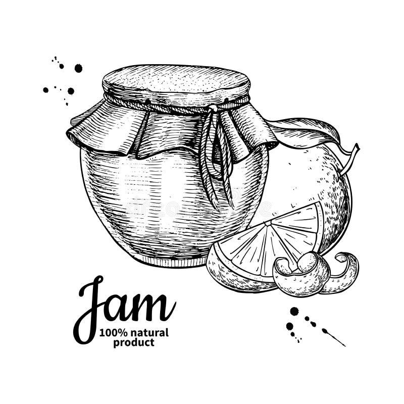Oranje de kruik vectortekening van het jamglas Fruitgelei en marmelade royalty-vrije illustratie