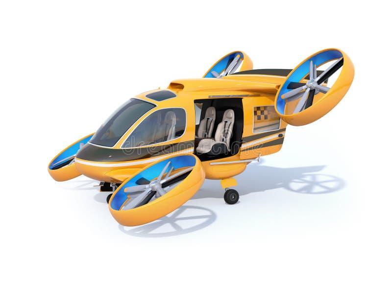 Oranje de Taxiparkeren van de Passagiershommel op witte grond met geopende deur vector illustratie