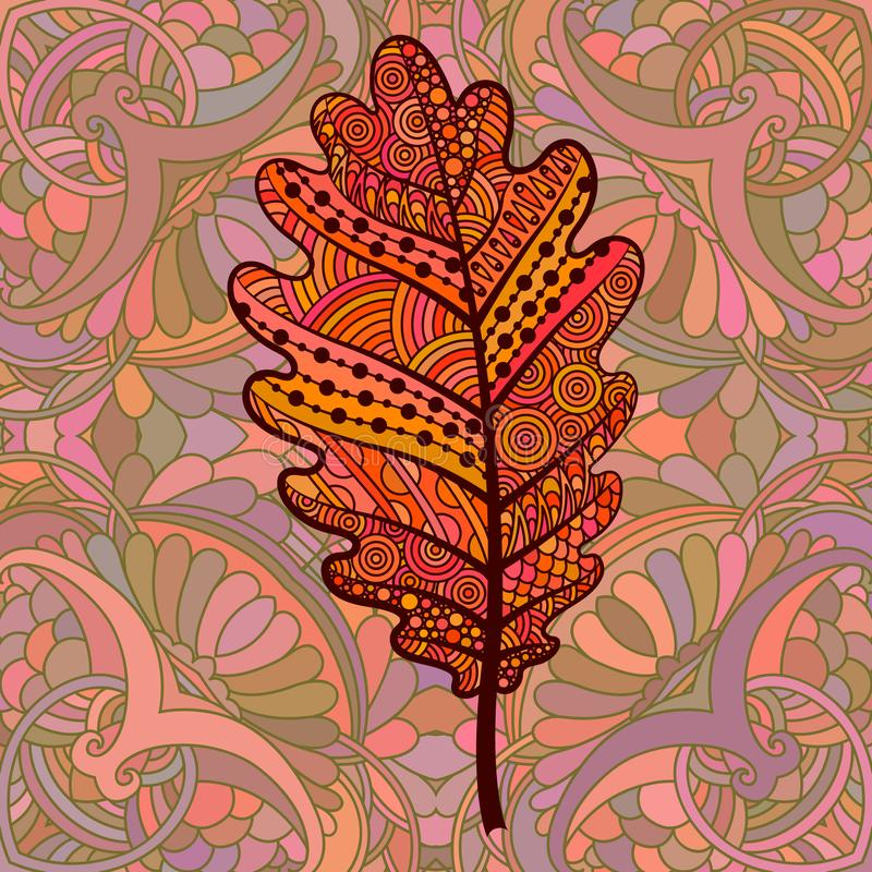 Oranje decoratief eiken blad stock illustratie