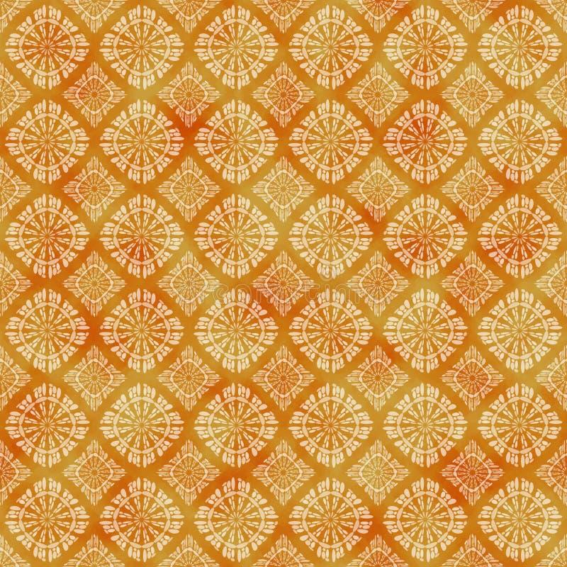 Oranje decoratief watercolored achtergrondpatroon royalty-vrije illustratie