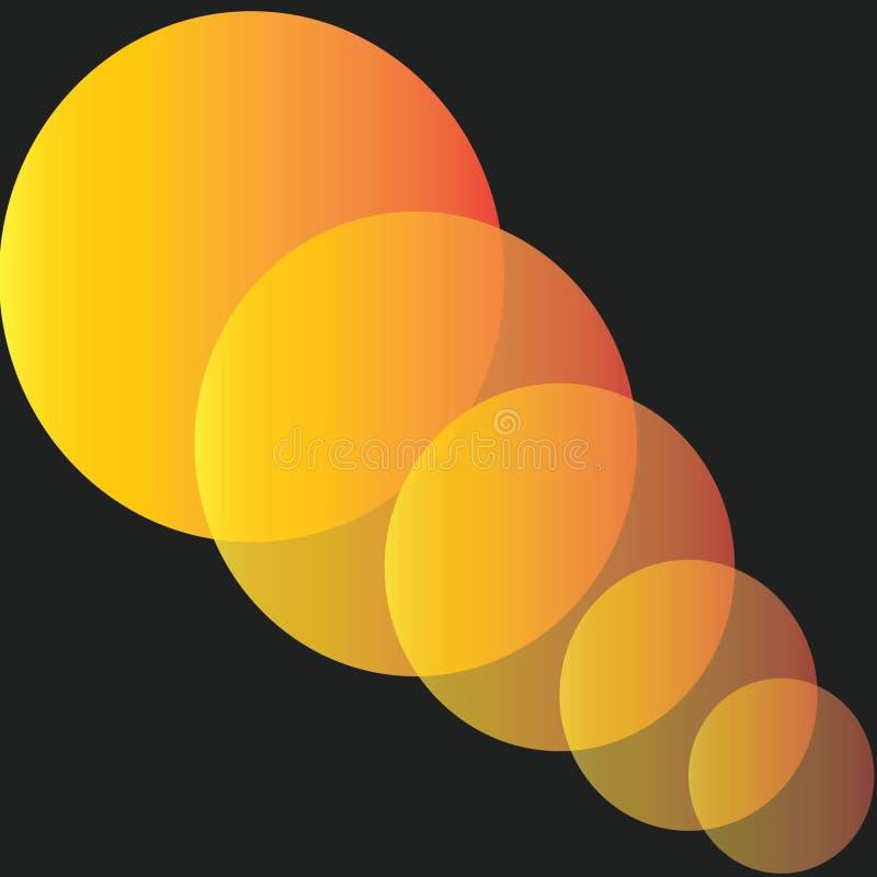 Oranje die cirkelpatroon tegen een zwarte achtergrond wordt gesneden stock illustratie