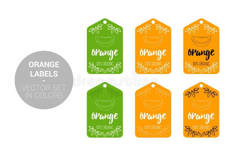 Oranje die de etikettenvector van fruiteco in groene, oranje kleuren wordt geplaatst stock illustratie