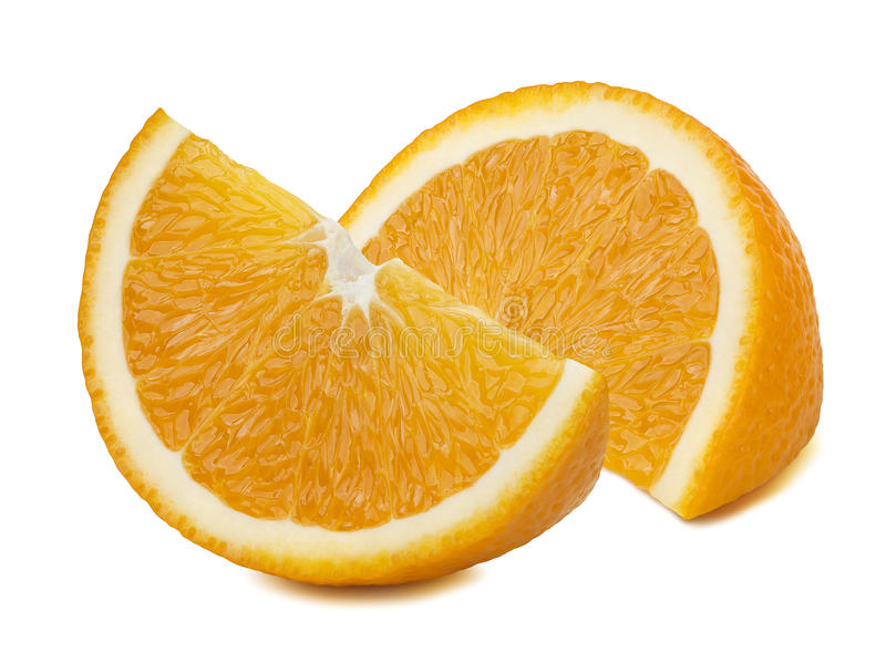 Oranje die kwartstukken op witte achtergrond worden geïsoleerd stock fotografie