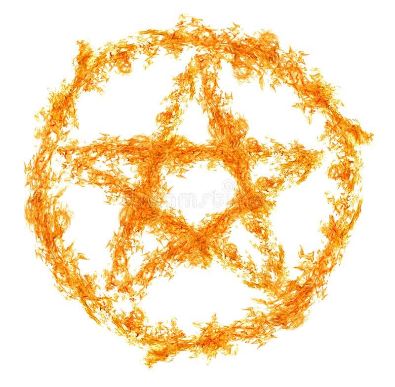Oranje die vlam pentagram op wit wordt geïsoleerd vector illustratie