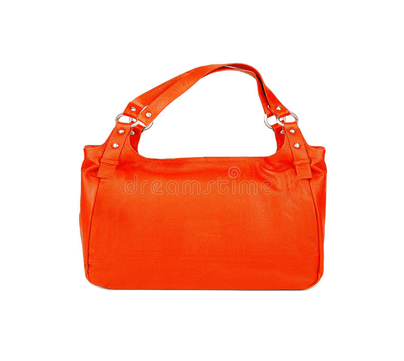Oranje die vrouwenzak op wit wordt geïsoleerd royalty-vrije stock fotografie