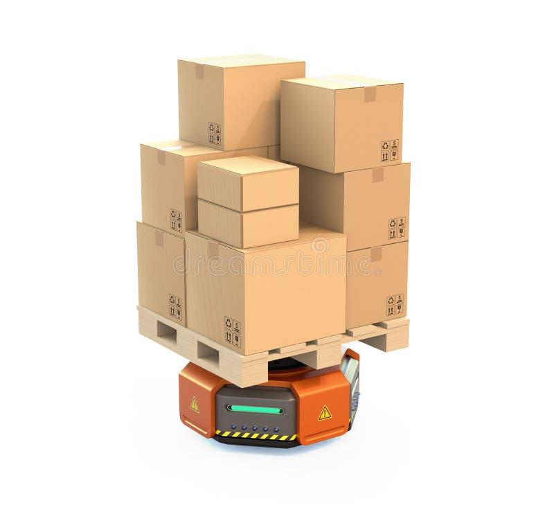 Oranje dragende die het kartondozen van de pakhuisrobot op witte achtergrond worden geïsoleerd royalty-vrije illustratie